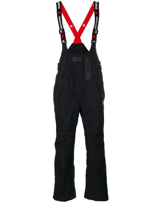 メンズ DSquared² ロゴストラップ スキーパンツ Black