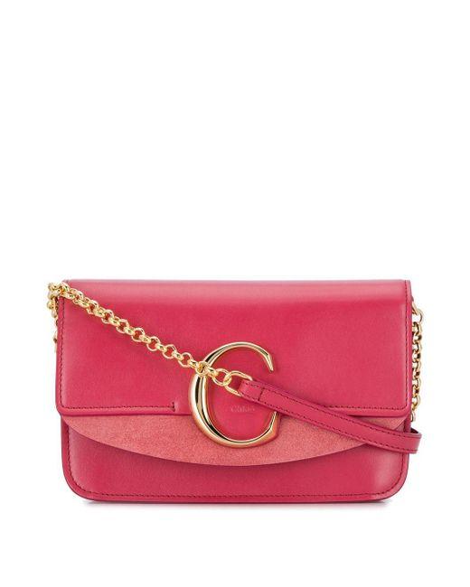 Chloé C Ring Crossbodytas in het Pink