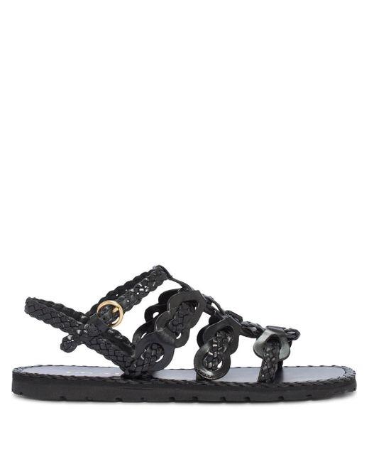 Sandales à design tressé Prada en coloris Black