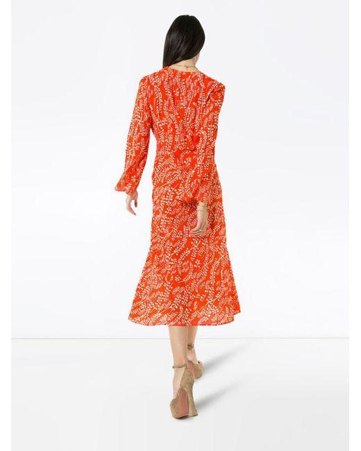 Rixo Sonja フローラル ドレス Red