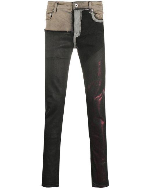 Jeans skinny color-block di Rick Owens Drkshdw in Black da Uomo