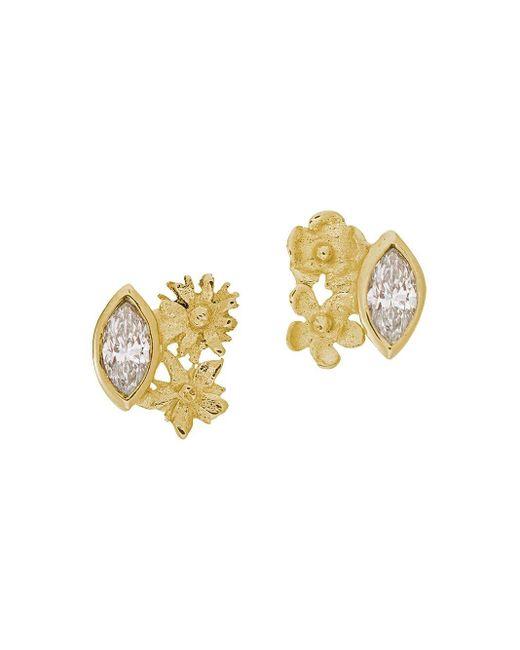 Alex Monroe Floral Cluster ダイヤモンド ピアス 18kイエローゴールド Metallic