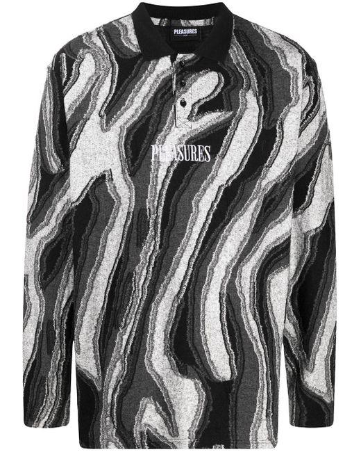 メンズ Pleasures ロングスリーブ ポロシャツ Black