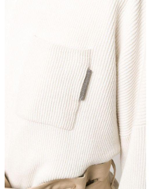 Трикотажный Джемпер В Рубчик Brunello Cucinelli, цвет: Natural