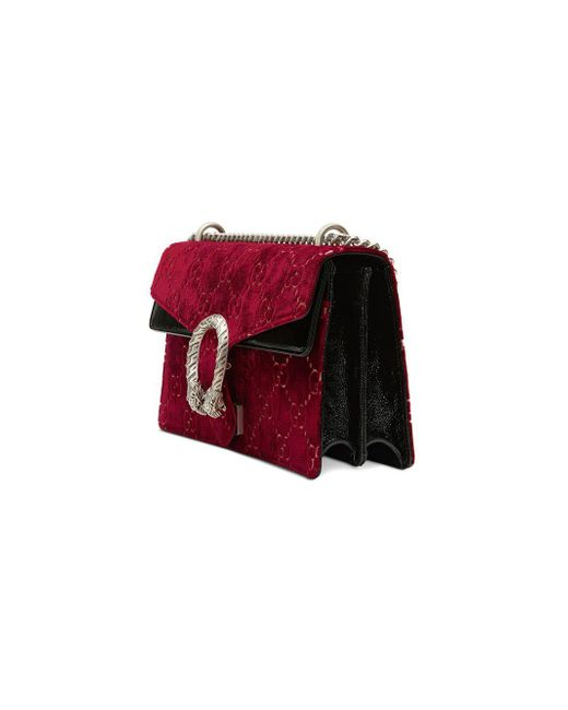 b7a31afd80d84 Lyst - Gucci Small Dionysus Gg Velvet Shoulder Bag - in Red - Save 6%