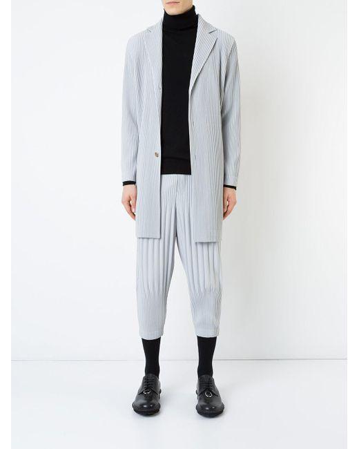 メンズ Homme Plissé Issey Miyake プリーツ ロングコート Multicolor