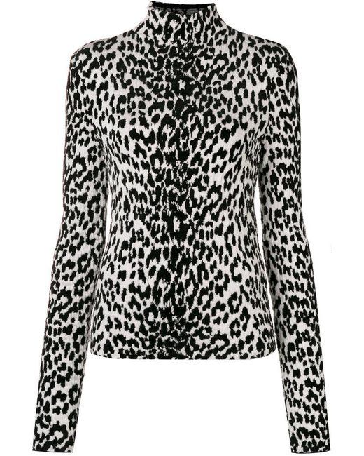 Givenchy - Black Leopard Print Turtleneck Sweater - Lyst