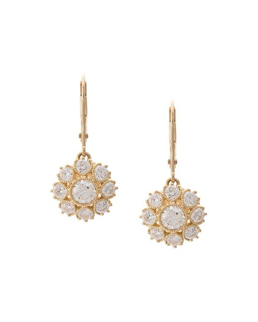 Marchesa Metallic 18kt Yellow Gold Floral Diamond Drop Earrings