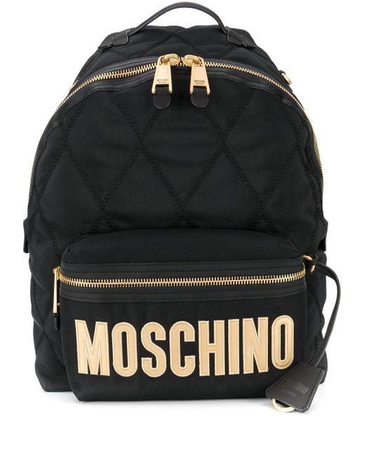 Moschino キルティング ロゴ バックパック Black