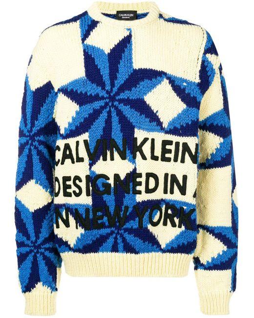 メンズ CALVIN KLEIN 205W39NYC スターパターン セーター Blue