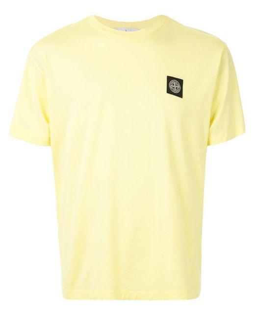 メンズ Stone Island ロゴパッチ Tシャツ Yellow