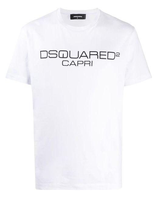 メンズ DSquared² ロゴ プリント シャツ White