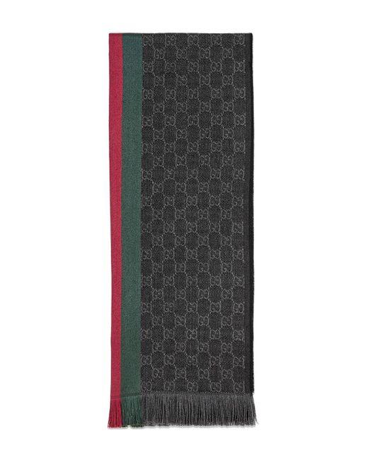メンズ Gucci ジャガードスカーフ Gray