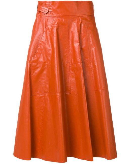 Bottega Veneta レザー プリーツスカート Orange