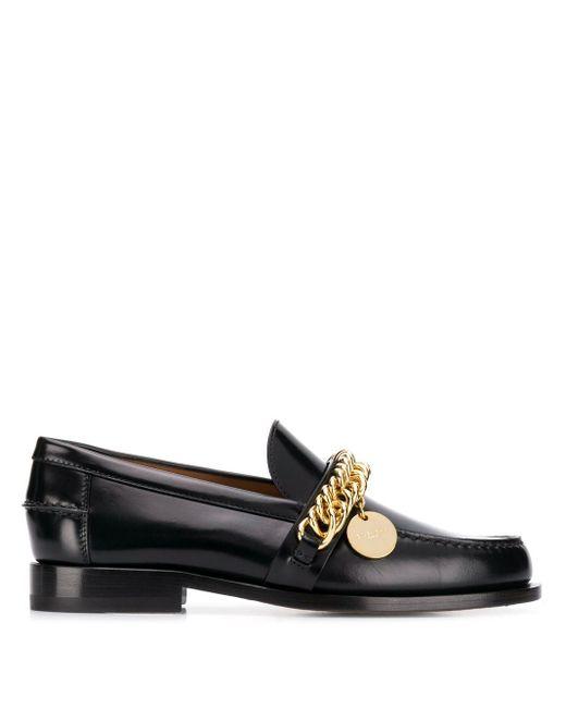 Givenchy Loafers Verfraaid Met Ketting in het Black