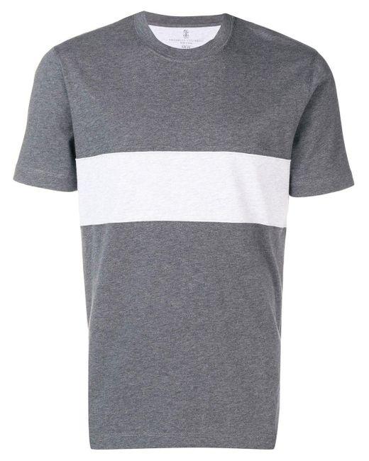 メンズ Brunello Cucinelli コントラストパネル Tシャツ Gray