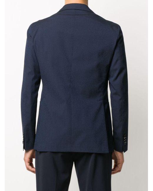 メンズ Tagliatore テクスチャード シングルジャケット Blue