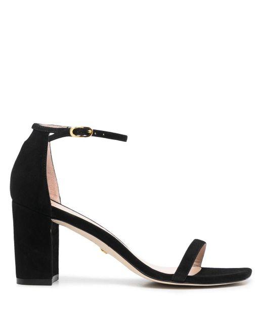 Stuart Weitzman Black Nearlynude Open-toe Sandals