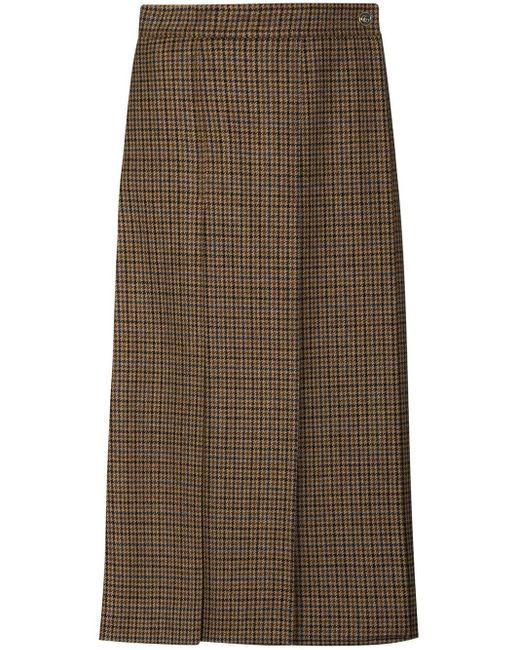 Юбка Миди В Ломаную Клетку Со Складками Gucci, цвет: Brown