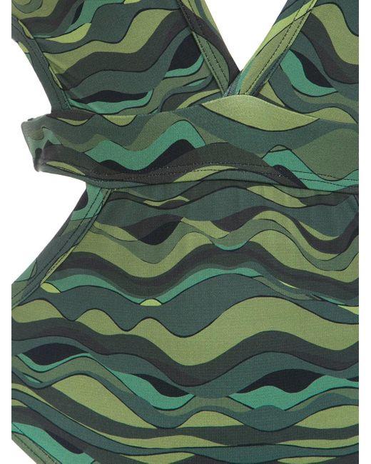 Wave Print Swimsuit Amir Slama, цвет: Green