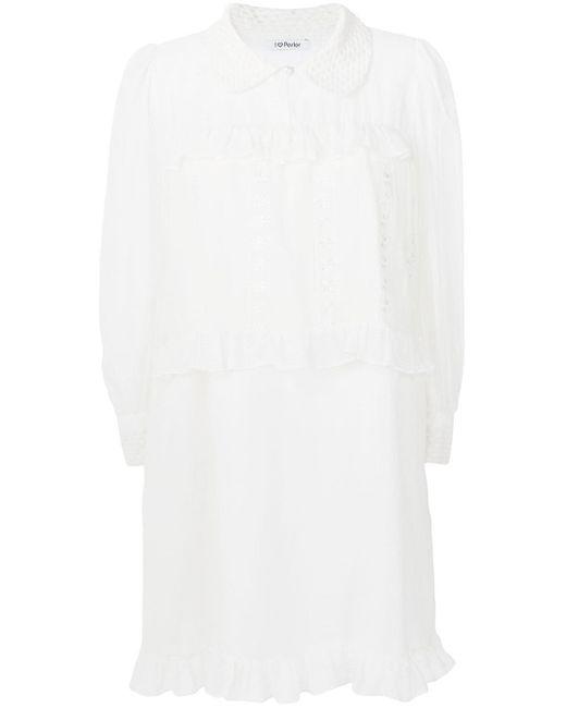 Parlor フリルトリム ドレス White