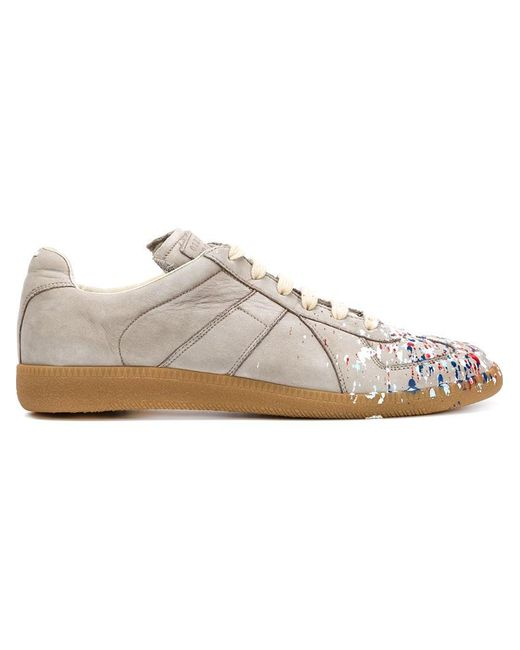 Maison Margiela - Gray Replica Paint-Splatter Nubuck Low-Top Sneakers - Lyst