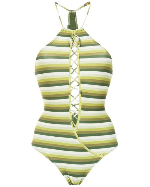 Striped Swimsuit Amir Slama, цвет: Green
