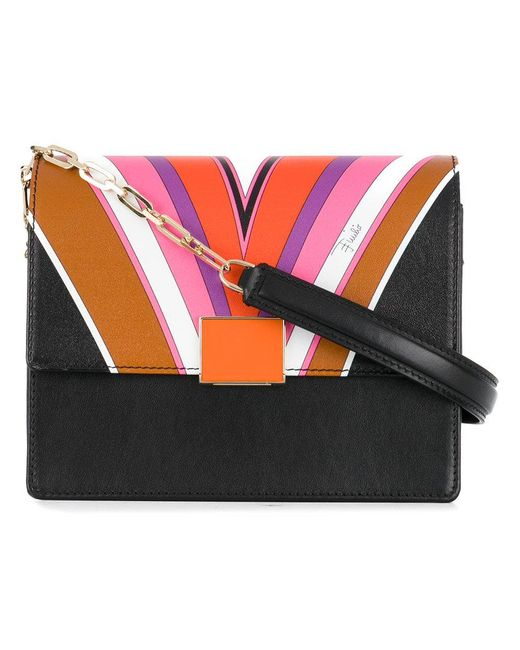 Emilio Pucci | Black Printed Shoulder Bag | Lyst
