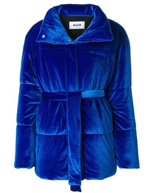 MSGM - Blue Puffer Textured Jacket - Lyst