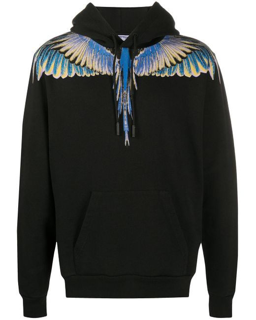 Marcelo Burlon Black Wings Print Hoodie for men