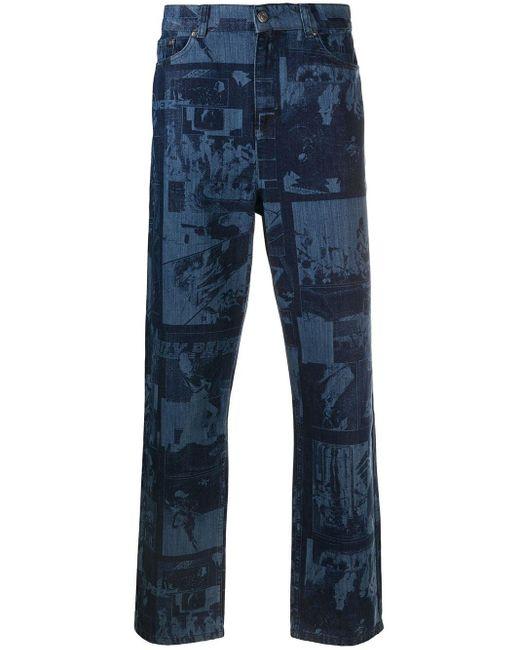 メンズ Daily Paper プリント ストレートジーンズ Blue