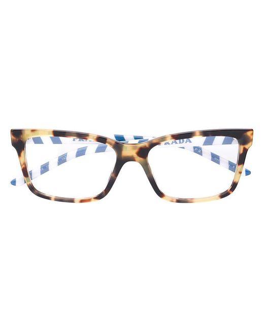 c125fa69052 Prada - Brown Square Glasses - Lyst ...