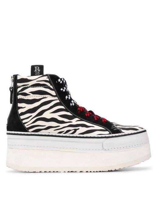 R13 White Platform Zebra Print Sneakers