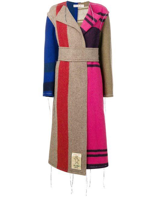Marni コントラスト ロングコート Multicolor