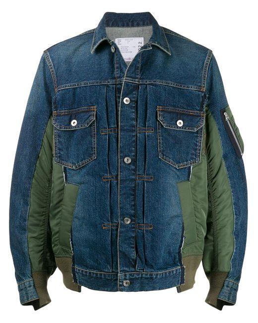 メンズ Sacai パッチワーク デニムジャケット Blue
