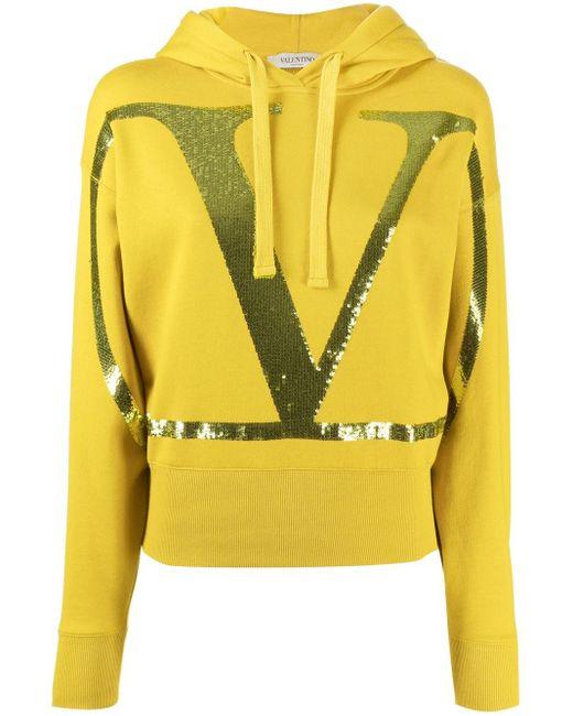 Valentino Vロゴ スパンコール パーカー Yellow