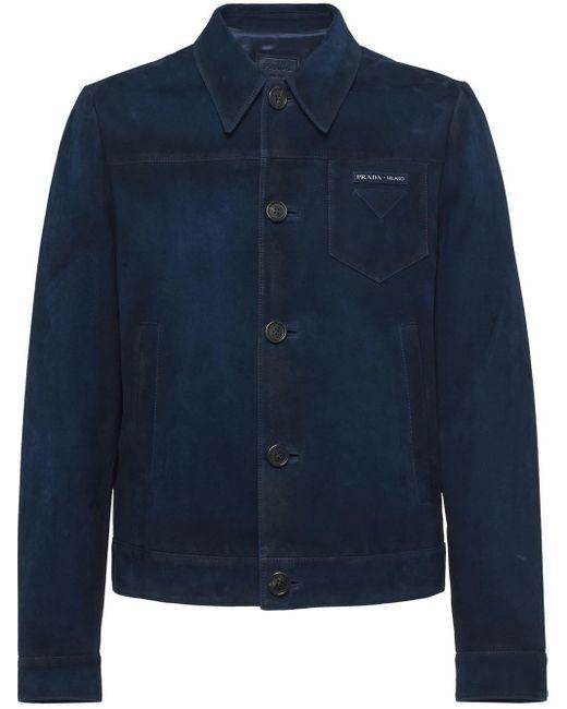 Prada Blue Button Front Jacket for men