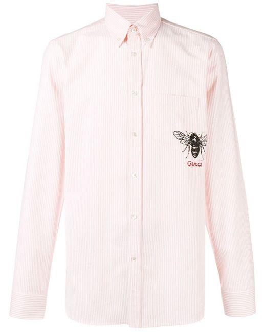 メンズ Gucci ストライプ シャツ Pink