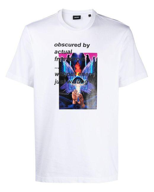 T-shirt con stampa grafica di DIESEL in White da Uomo