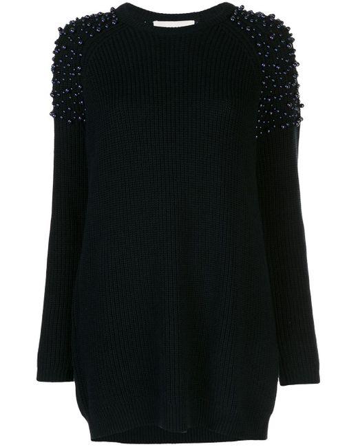 Michelle Mason パールディテール ドレス Black