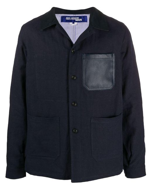 メンズ Junya Watanabe パッチポケット シャツジャケット Blue