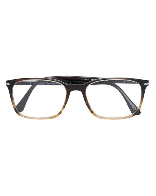 メンズ Persol レクタングル 眼鏡フレーム Black