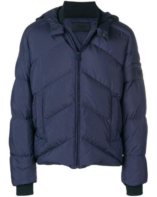 Prada Blue Padded Logo Plaque Jacket for men