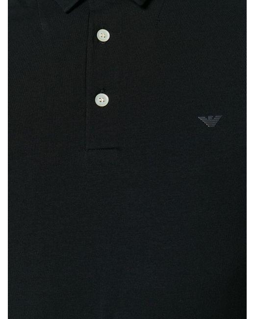 メンズ Emporio Armani ロゴパッチ ポロシャツ Blue