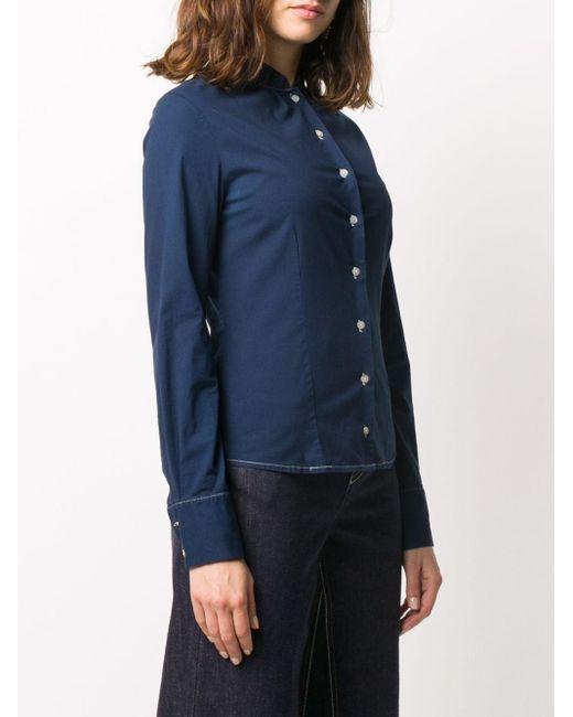 Dior 2000s プレオウンド スタンドカラー シャツ Blue
