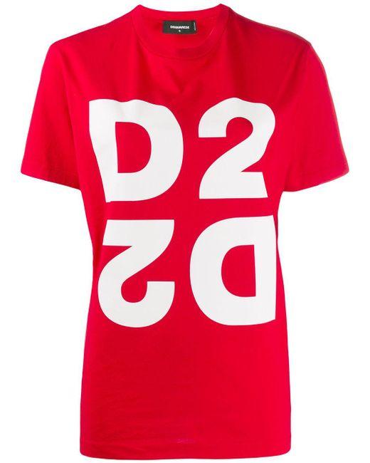 DSquared² Camiseta D2 de mujer de color rojo 1jhE2