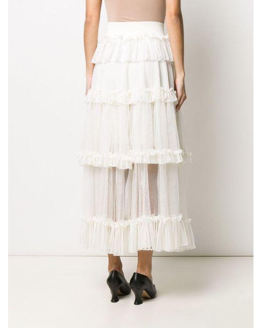 Ярусная Юбка С Оборками И Вставками Alexander McQueen, цвет: White