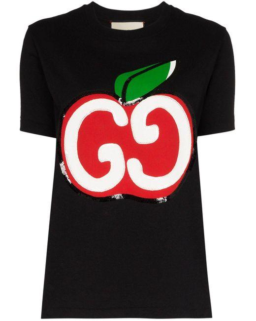 Gucci GGアップル プリントtシャツ Black