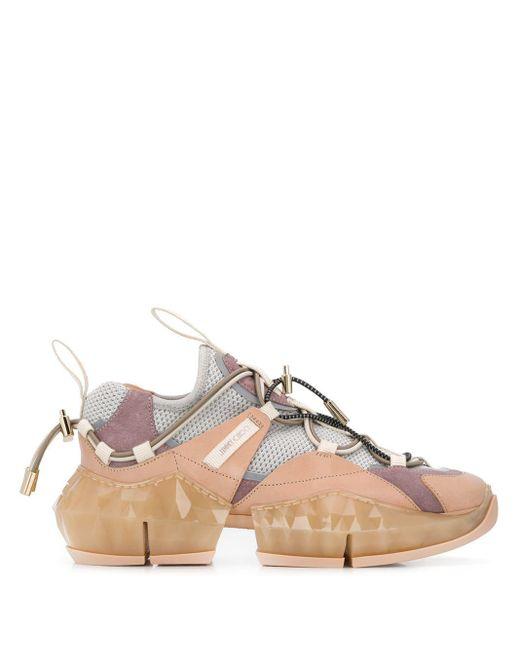 Jimmy Choo Multicolor Diamond Trail Blush Leather Sneakers