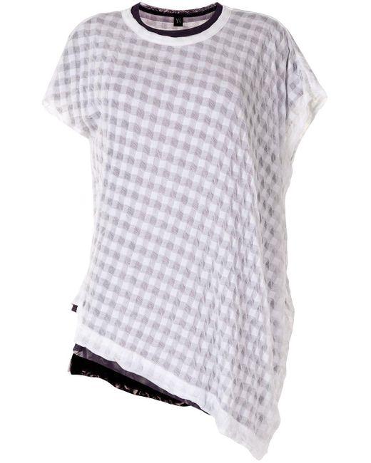Y's Yohji Yamamoto White Gingham Asymmetric T-shirt
